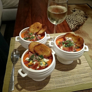 Spanish Tomato Soup with Serrano Ham