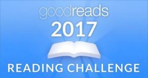 Blue banner image with picture of a book in white and the text Goodreads 2017 Reading Challenge