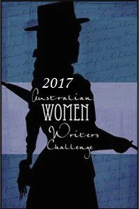 Silhouette of a woman with an umbrella black on a blue background with text Australian Women Writers Challenge 2017.