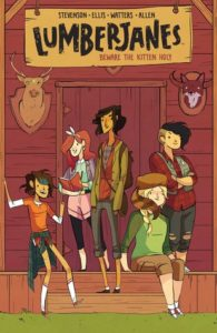 Background of a cabin/lodge in a lighthearted comic style with five girls hanging out together on the cover, all are different heights and sizes and appearances.