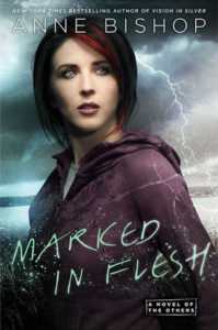 A stormy sky with lightning is the background with a red-haired woman with short hair and haunted eyes standing in the foreground looking worried.