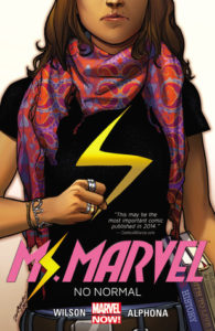 A Muslim teenage girl centres the entire cover image, she's wearing a black shirt with a yellow lightning bolt of Ms Marvel and a scarf.