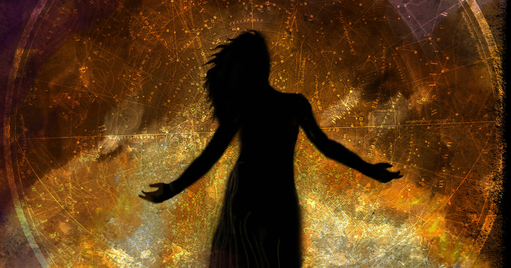 Inspiration image for Problem Daughters anthology, a silhouette of a woman against a starchart background in browns, oranges, and topaz colours
