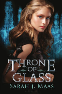 An attractive blond woman with blue eyes body facing sideways with her face forward and a wicked looking knife strapped to her shoulder is in the foreground with the title 'Throne of Glass' ona blue shimmery background