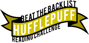 Banner image with black text on white Beat the Backlist. Yellow centre banner with white text 'Hufflepuff'.